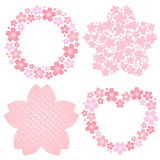 Cherry blossom decoration. Set of cherry blossom decoration. Spring ornaments Stock Illustration