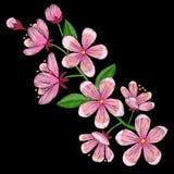 Cherry Blossom Embroidery Pattern Fotografie Stock Libere da Diritti
