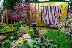 Cherry Blossom en el jardín por la bahía Imagen de archivo