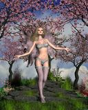 Cherry Blossom Fairy with Cherry Tree background Stock Image