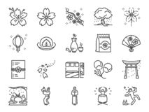 Cherry blossom festival icon set. Included icons as Sakura, blooming, fair, flower, japan and more. vector illustration