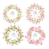 Cherry blossom floral wreaths Stock Images