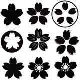 Cherry Blossom flower silhouette set vector. With many style include drawing style and shade stock illustration