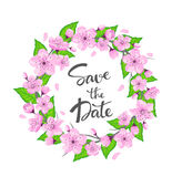 Cherry blossom flowers spring wreath with green leaves and hand written lettering Save the date Royalty Free Stock Photo