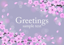 Cherry Blossom Greeting Card Template stock illustrationer