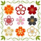 Cherry Blossom icon set Stock Photo