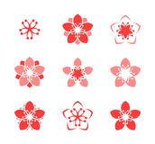 Cherry blossom. Icon set. Spring flowers on white background Stock Image