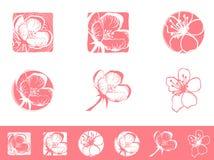 Cherry Blossom Logo Design Set Imagen de archivo libre de regalías