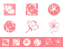 Cherry Blossom Logo Design Set Royalty Free Stock Image