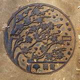 Cherry Blossom Manhole cover at Ueno Park in Tokyo Royalty Free Stock Photo
