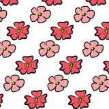 Cherry Blossom red and pink flower illustration with paint brush. Cherry Blossom red and pink flower illustration  on white background Royalty Free Stock Photos