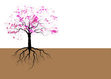 Cherry blossom with roots underground watercolor design,vector Stock Photos