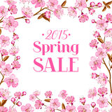 Cherry blossom sale card vector illustration