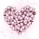 Cherry blossom in the shape of heart Royalty Free Stock Photos