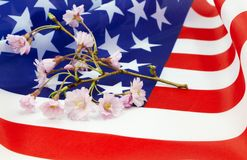 Cherry blossom sprig on American flag Stock Photo
