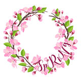 Cherry Blossom Spring Background - with Floral Wreath in vector Royalty Free Stock Photo