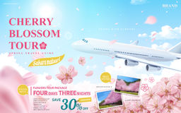 Cherry blossom tour ad. Spring travel guide for travel agency or blog with flying flowers and aircraft in 3d illustration royalty free illustration