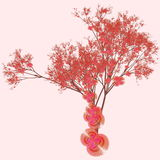 Cherry Blossom Tree. In a Pink Background Royalty Free Stock Photos