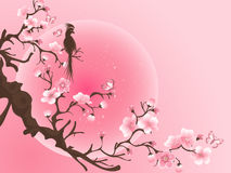 Cherry blossom tree with bird. Japanese Vector art. Cherry blossom tree with bird. Japanese art picture Stock Image