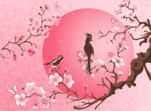 Cherry blossom tree with two bird. Japanese style Royalty Free Stock Photos
