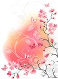 Cherry blossom tree, white background. Cherry blossom tree for your design. Vector Stock Photos