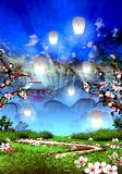Cherry blossom trees, mountain temple and white lanterns. Illustration stock illustration