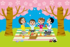 Cherry-blossom viewing,family Stock Image