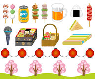 Cherry-blossom viewing goods ,icon set. Japanese Cherry-blossom viewing goods ,icon set stock illustration