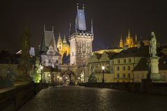 Czech Republic - Prague at night from Charles Bridge stock photo