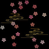 Cherry blossom and water flow pattern on black background Stock Images