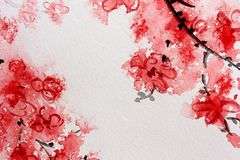 Cherry Blossom Watercolor Series 2 Royalty Free Stock Image