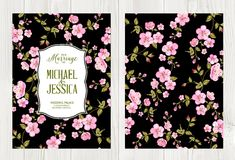 The Cherry blossom. Wedding flower cover with flowers over black background. Cherry blossom pattern. Flower invitation card over wood. Vector illustration Stock Photo