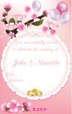 Cherry Blossom Wedding Invitation Immagini Stock