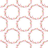 Cherry blossom Wreath-Seamless pattern Stock Photo