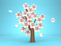 Cherry Blossoms On Blue Background Royalty Free Stock Images