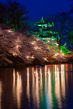 Cherry blossoms and Castle in the twilight Royalty Free Stock Images