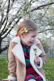 Cherry blossoms fall and a girl is verry happy Royalty Free Stock Photo