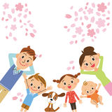 Cherry blossoms and family. The close family who looks up at the cherry blossoms Royalty Free Stock Photo