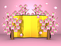 Cherry Blossoms And Gilt Folding Screen On Pink. 3D render illustration Royalty Free Stock Image