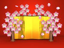 Cherry Blossoms And Gilt Folding Screen On Red. 3D render illustration Stock Photo