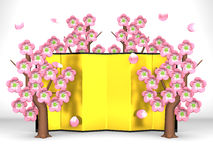Cherry Blossoms And Gilt Folding Screen On White. 3D render illustration Stock Photos