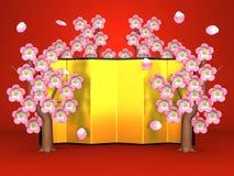 Cherry Blossoms And Gilt Folding skärm på rött stock illustrationer