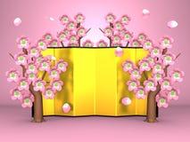 Cherry Blossoms And Gilt Folding skärm på rosa färger vektor illustrationer