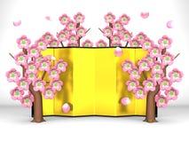 Cherry Blossoms And Gilt Folding skärm på vit stock illustrationer