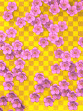 Cherry Blossoms On Gold Pattern-Hintergrund Stockfoto
