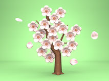 Cherry Blossoms On Green Background Illustration de Vecteur