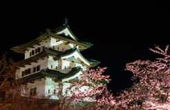 Cherry blossoms and Hirosaki Castle Royalty Free Stock Photos