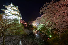 Cherry blossoms and Hirosaki Castle Stock Images