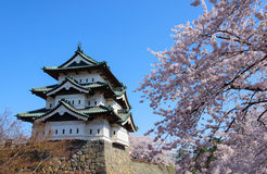 Cherry blossoms and Hirosaki Castle Stock Image
