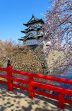 Cherry blossoms and Hirosaki Castle Royalty Free Stock Images